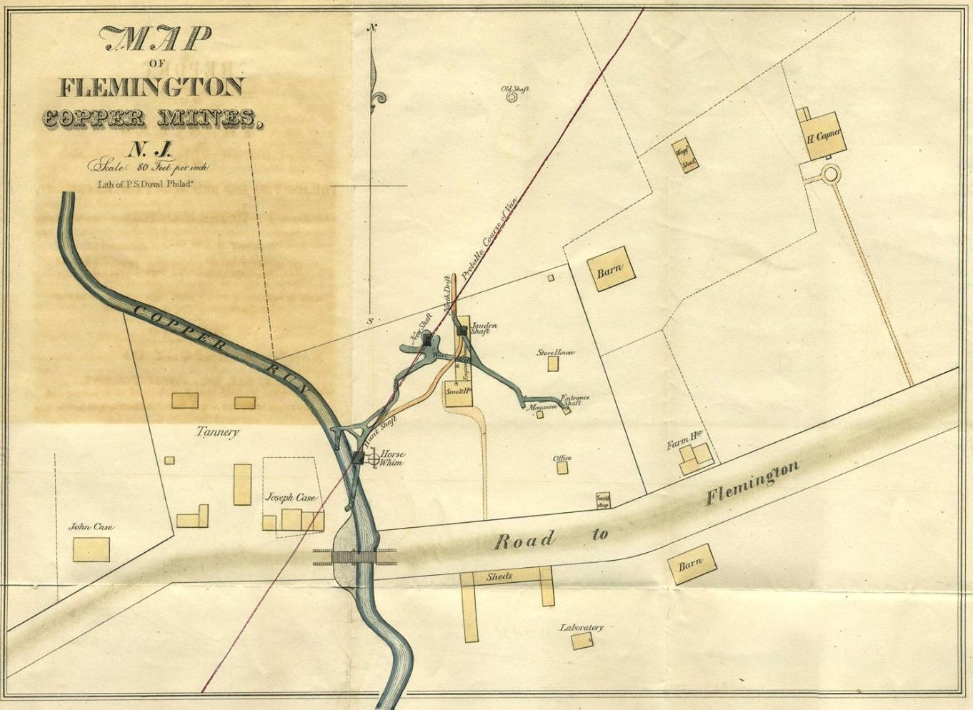 Map of Flemington Copper Mines